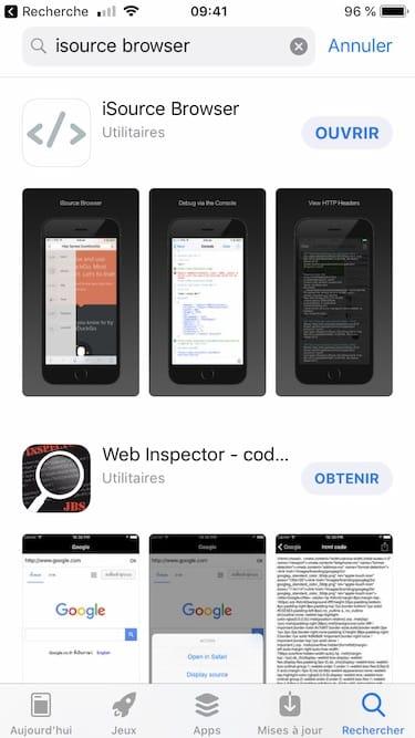 Voir le code source dune page web sur iPad