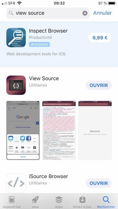 Voir le code source d'une page web sur iPhone avec View Source