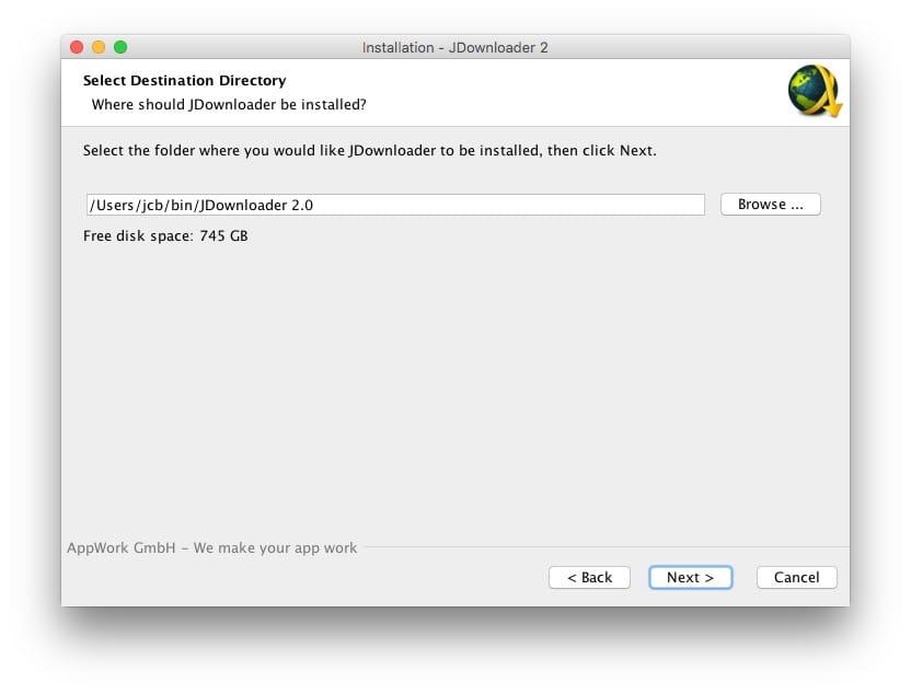 installer jdownloader 2 macOS chemin d'installation