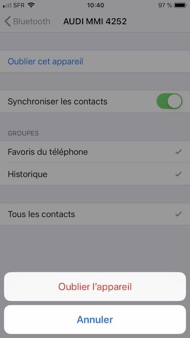 suppression jumelage peripherique bluetooth iphone ipad ipod