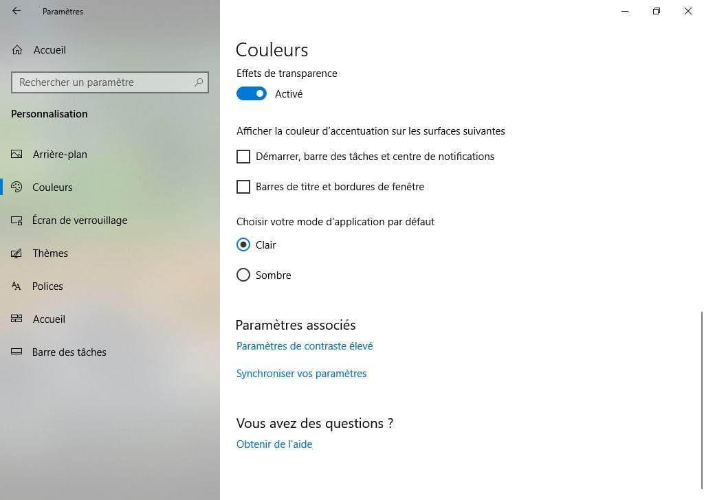 parametres windows 10 personnalisation et couleurs theme sombre