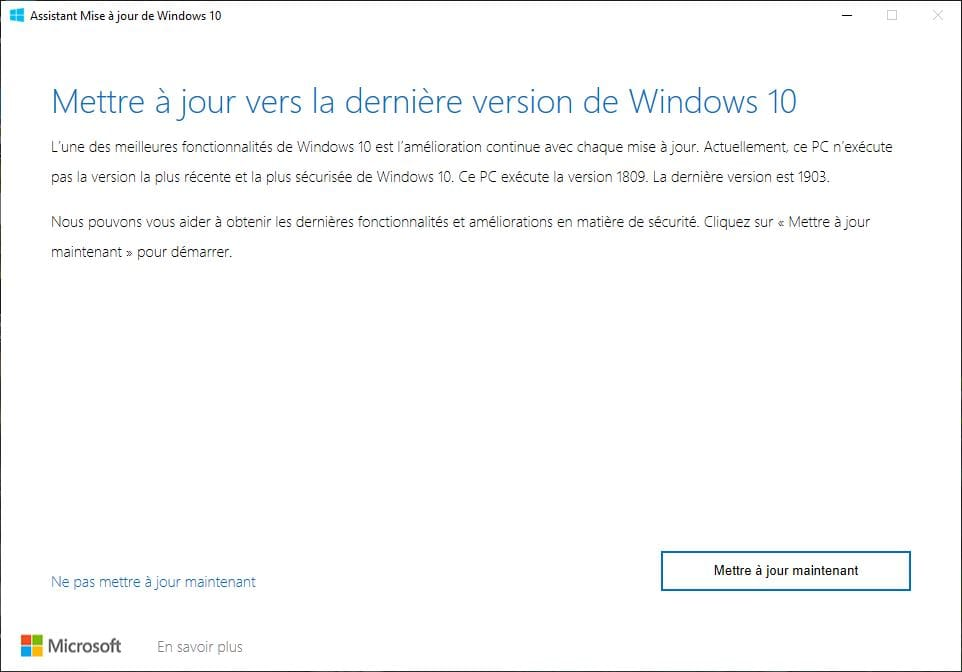 mettre a jour vers la derniere version de windows 10 mai 2019