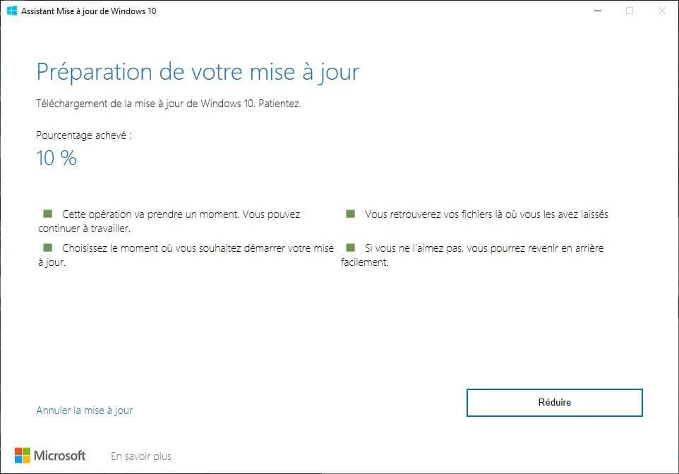 preparation mise a jour windows 10 mai 2019