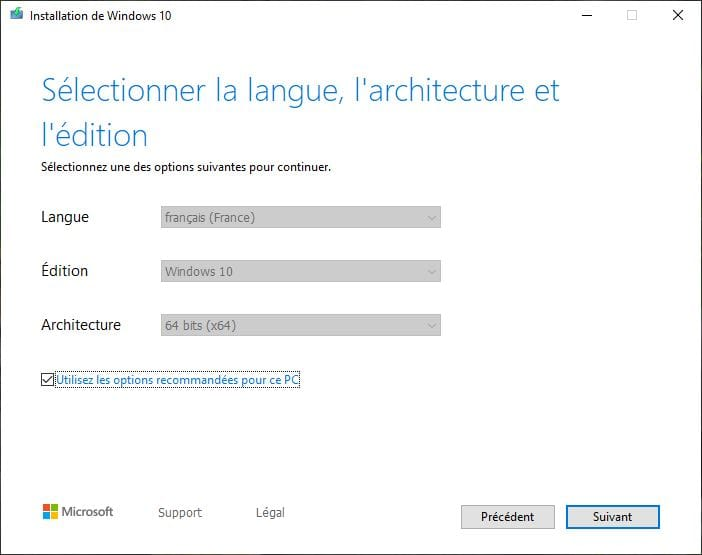 selectionner la langue architecture et edition Windows 10 Mai 2019
