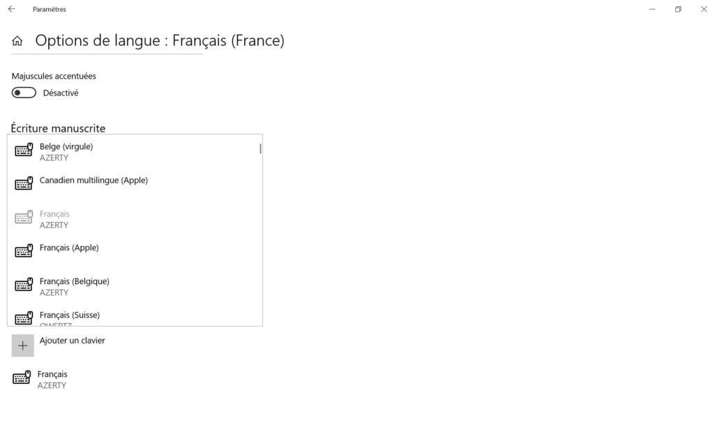 clavier francais apple windows 10