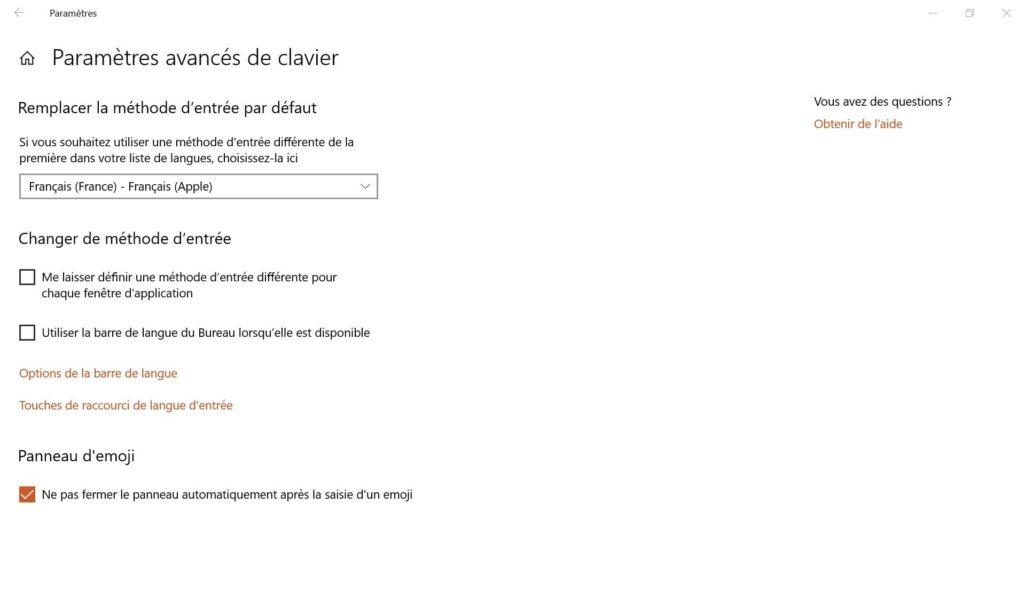 parametres avances de clavier apple sur windows