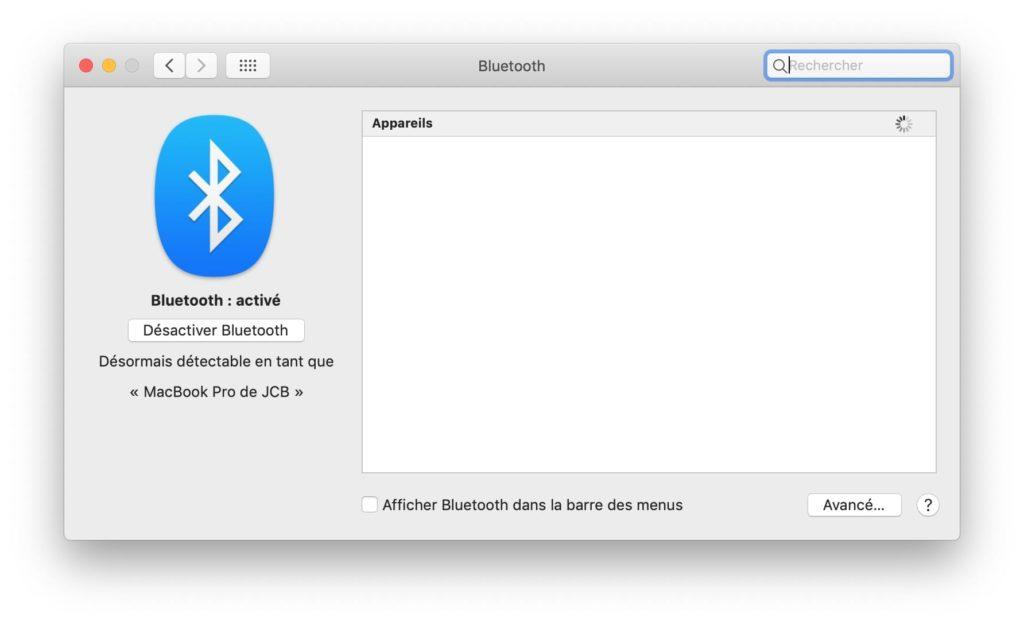 activer bluetooth sur mac pour connexion peripheriques