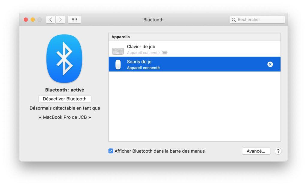 connexion souris bt macbook