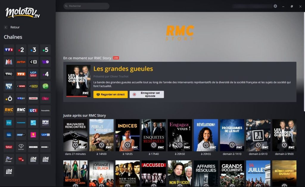 regarder la télé en direct sous windows 10
