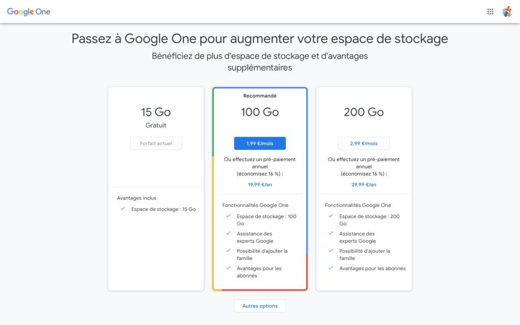 Google One stockage 15 100 et 200 Go
