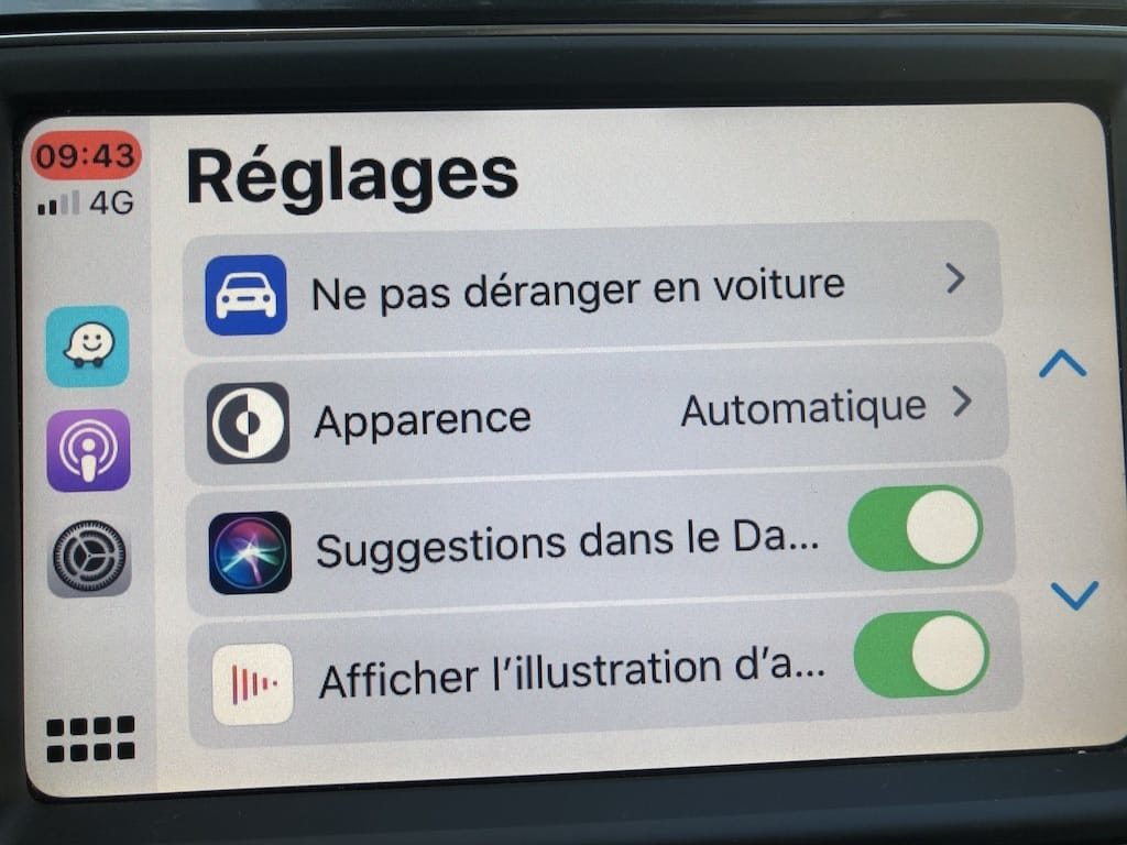 Apps Apple CarPlay ajouter Reglages