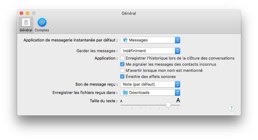 Messages Mac taille du texte agrandirou diminuer