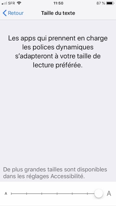 augmenter taille police ecriture iphone