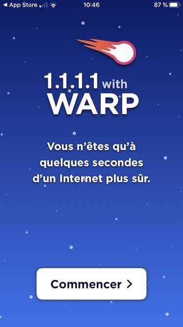installation VPN WARP iPhone iPad