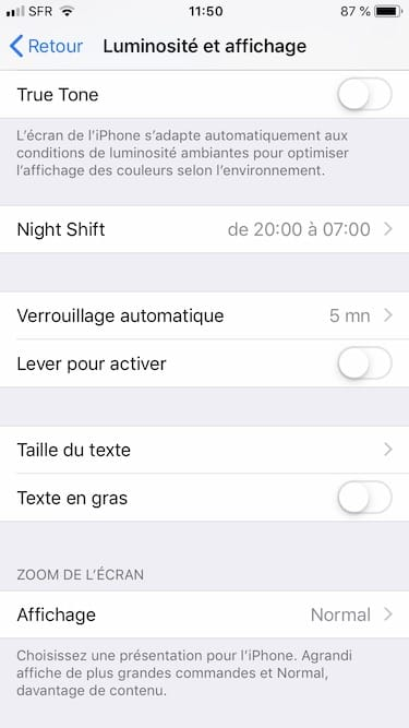 reglage taille du text iphone ipad