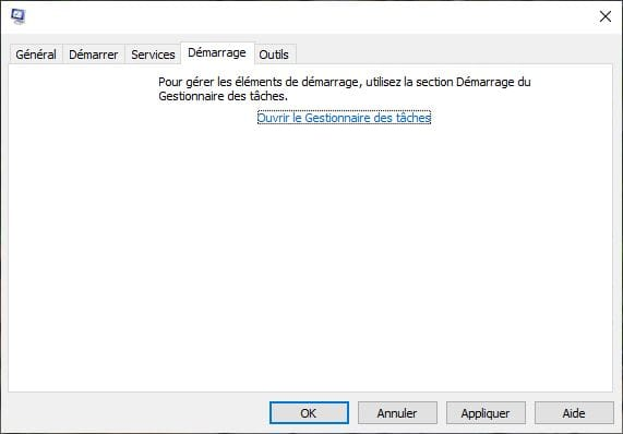 Msconfig Gestionnaire de taches Windows 10