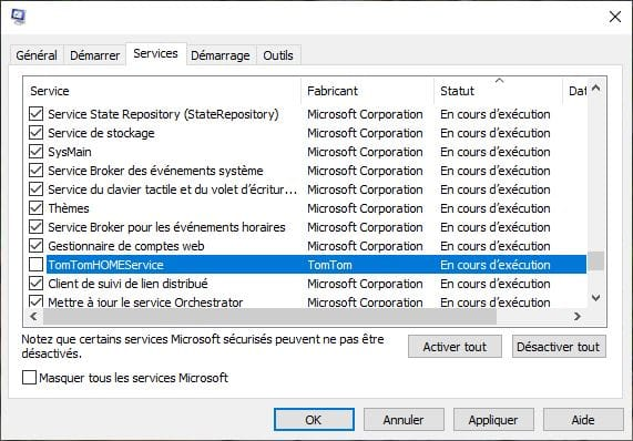 desactiver services avec Msconfig windows 10