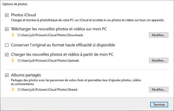 Photos pour iCloud Windows 10