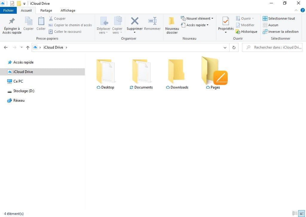 icloud drive explorateur windows 10