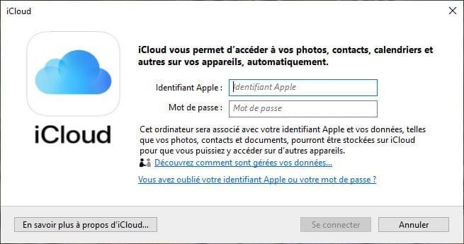 icloud windows identifiant Apple et mot de passe