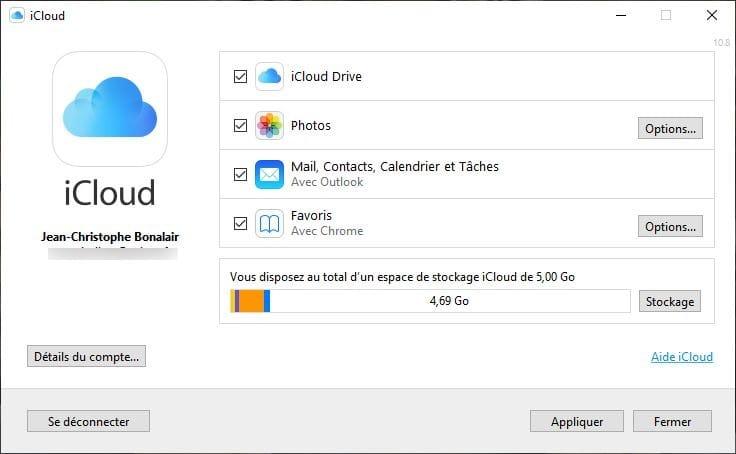 installation icloud windows 10