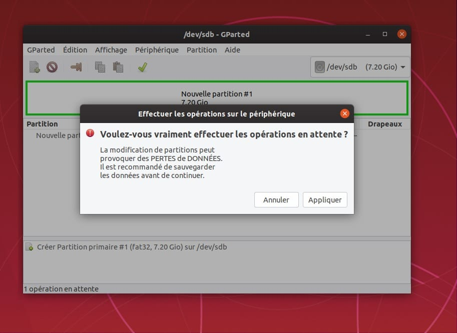 formatage cle usb gparted linux