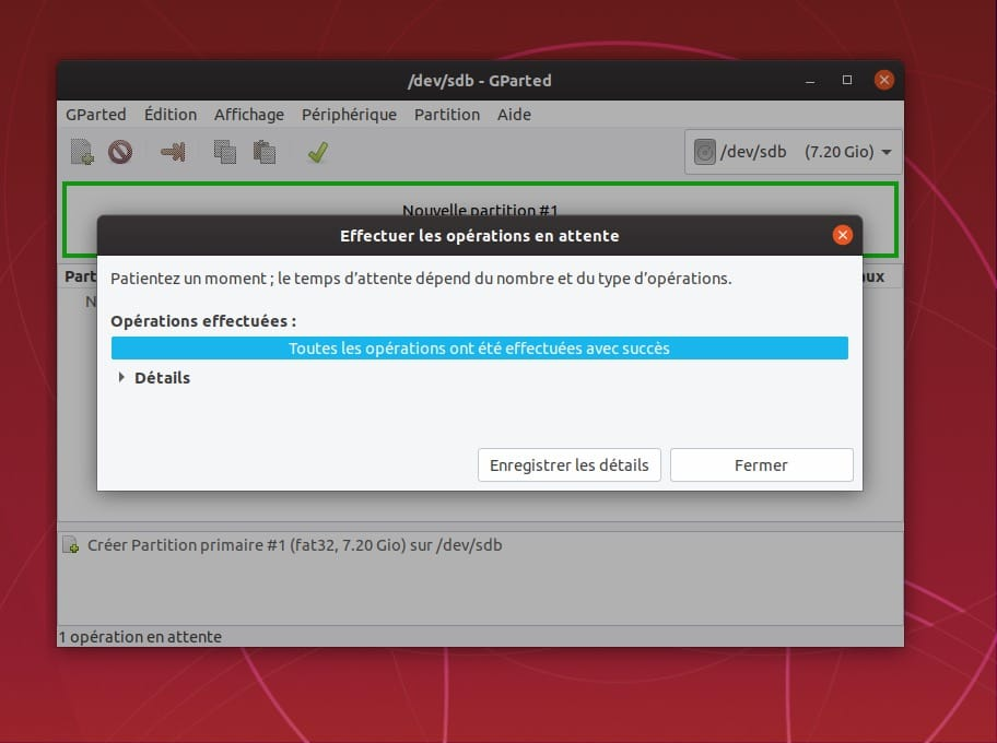 formatage ubuntu reussi