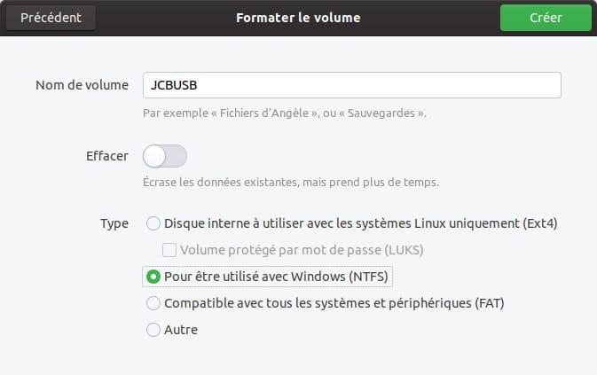 formater le volume avec ubuntu