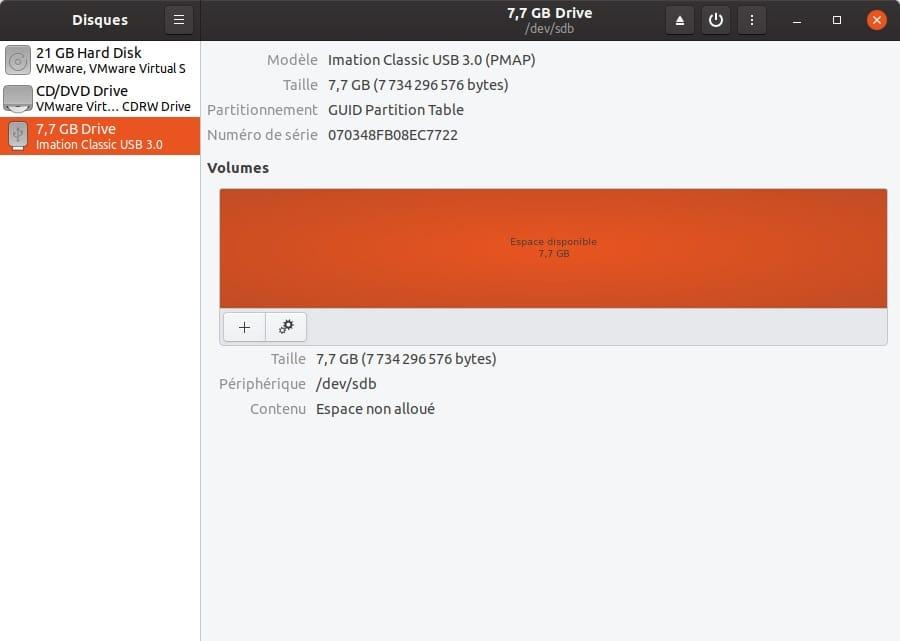 formater une cle usb sur ubuntu avec gnome disks