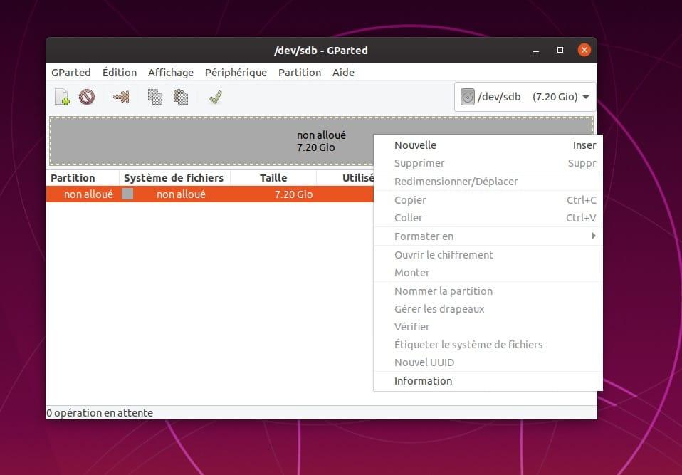 nouvelle partition sur cle usb ubuntu