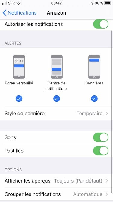 autoriser les notifications iphone style de banniere