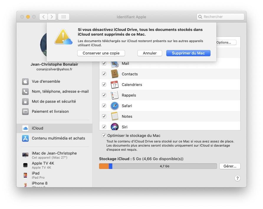 supprimer icloud drive mac