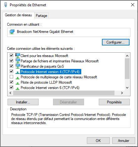 changer dns Windows 10 via protocole internet TCP IP