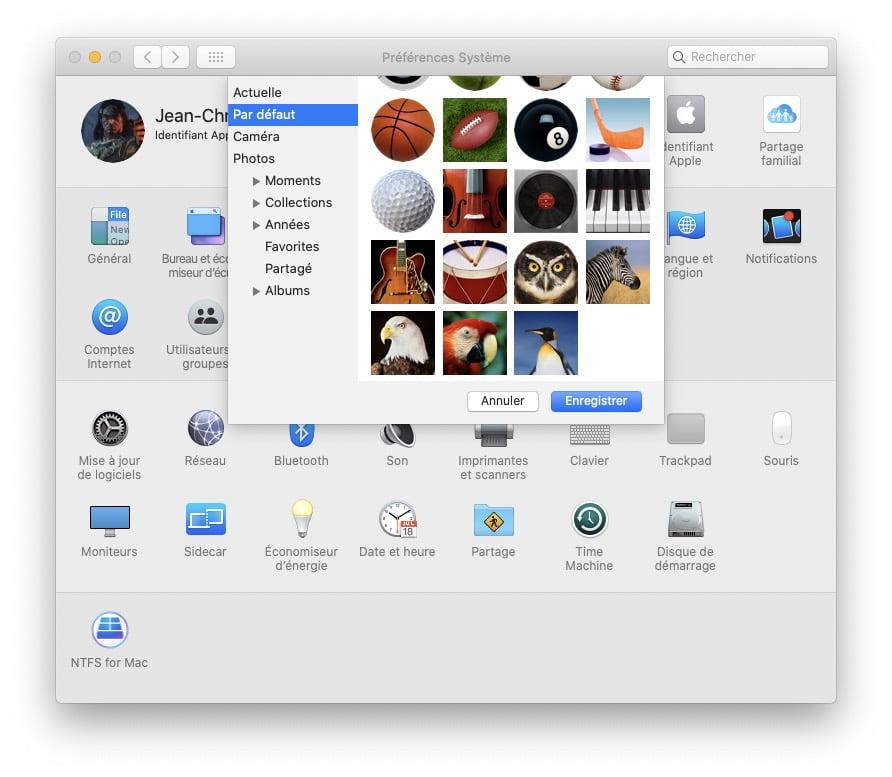 changer photo par defaut sur Mac