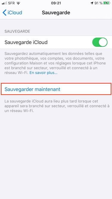 activer icloud sur iPhone pour backups Windows