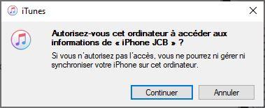 autoriser connexion iPhone PC Windows