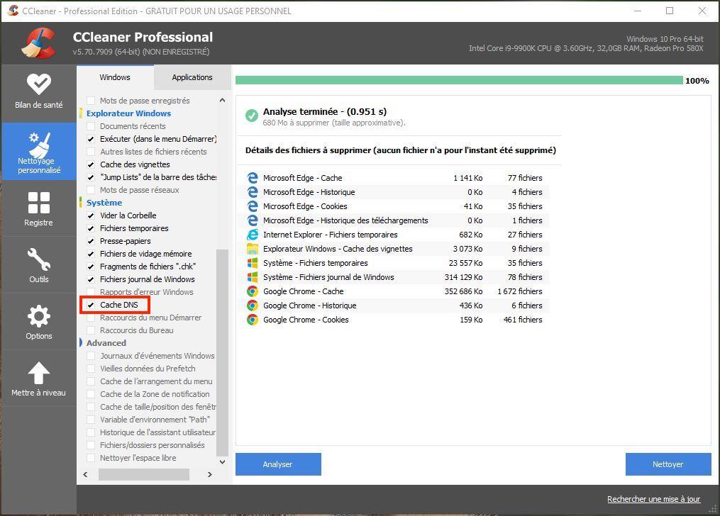 nettoyer cache DNS Windows 10 avec ccleaner