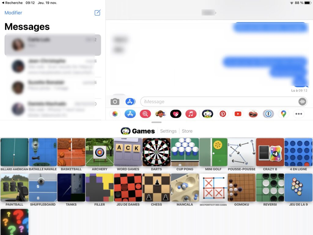 jouer directement dans Messages sur iPad iPhone