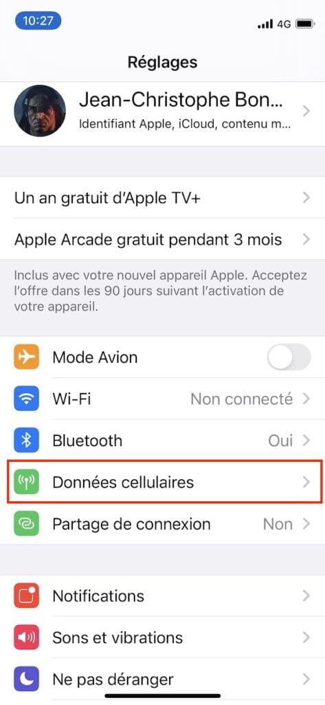 Activer la 5G sur un iPhone 12 reglages donnees cellulaires