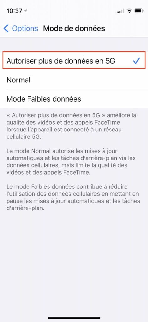autoriser plus de donnees en 5G