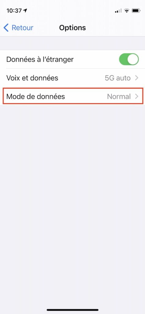 iphone activer 5G mode de donnees