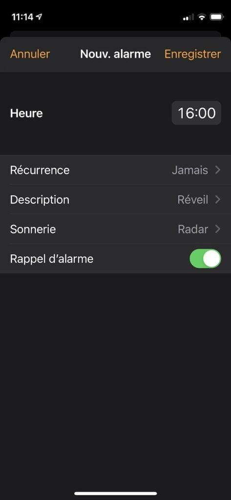 regler alarme sonnerie iphone