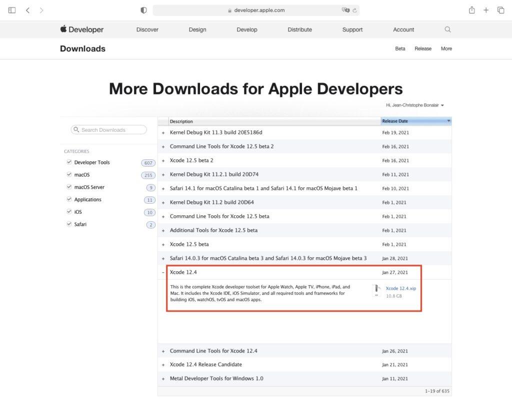 installer xcode 12.4 et command line tools More downloads for Apple Developers