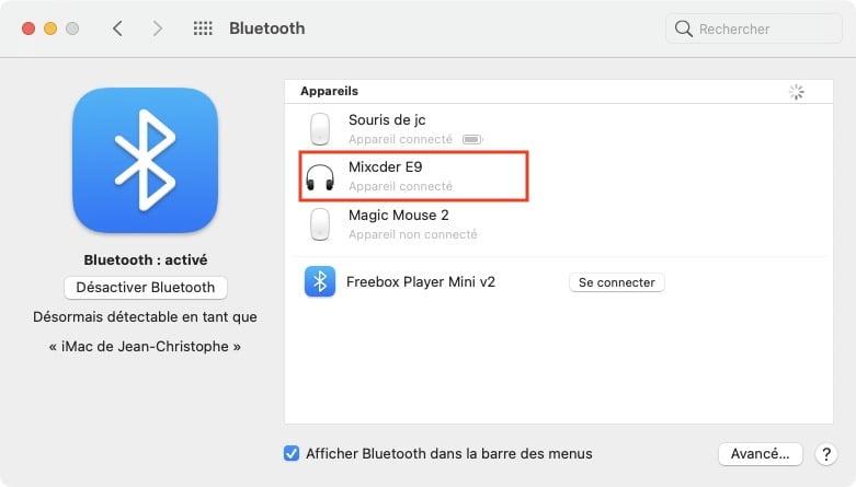 Renommer un accessoire Bluetooth sur Mac