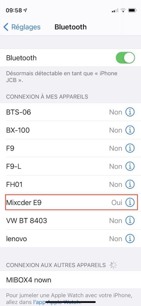 Renommer un accessoire Bluetooth sur iPhone iPod iPad