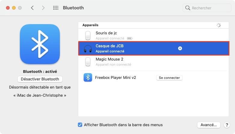 attribuer un nom personnalise a son casque sur macbook