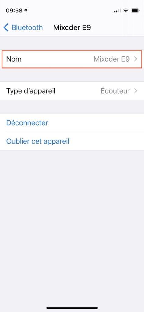 changer nom casque bluetooth iphone