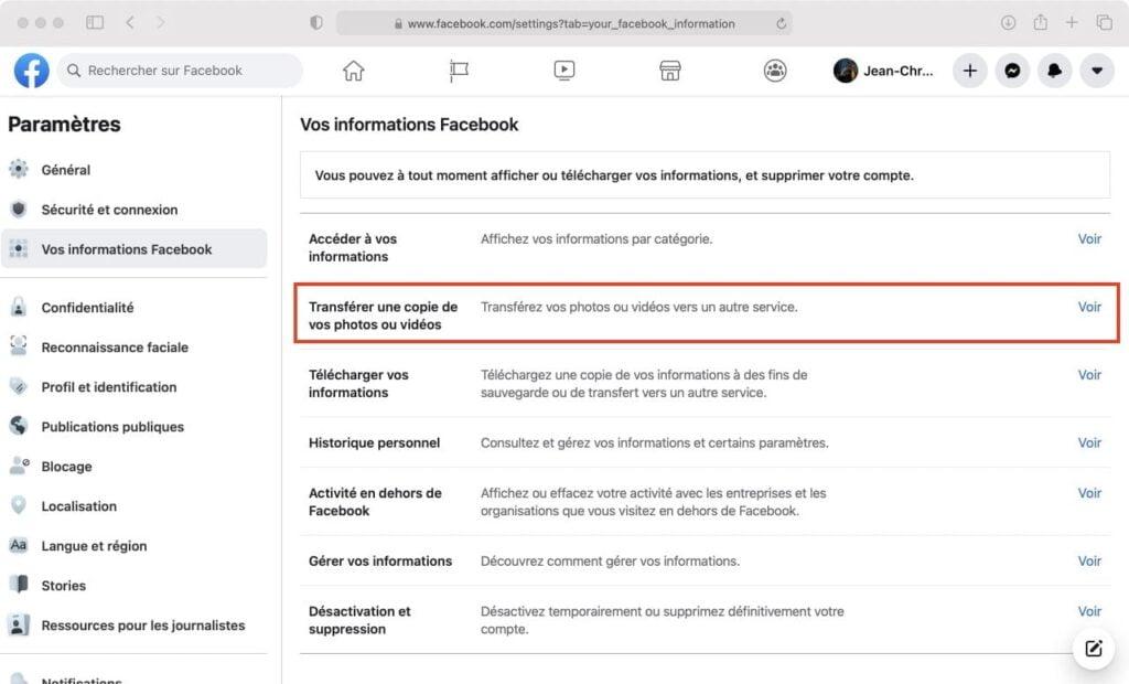 transfert copie photos videos facebook vers un autre service dans le cloud