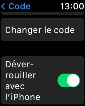 activer code sur apple watch pour deverrouiller iphone