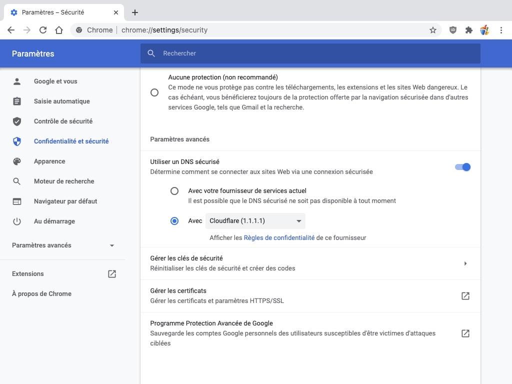 choisir dns cloudflare avec google chrome